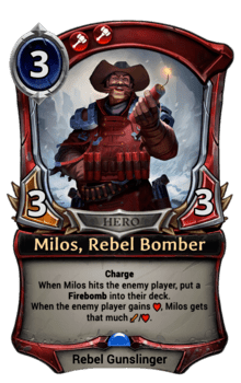 Milos, Rebel Bomber